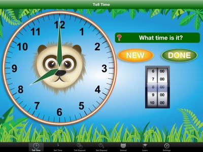 Jungle Time - learn how to tell time.